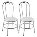 Kit 2 Cadeiras de Cozinha Tubular Pc01 - Branco/cromado