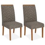 Kit 2 Cadeiras de Jantar, Carvalho Americano, Linho Bronze, Naomi