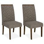 Kit 2 Cadeiras de Jantar, Rústico Malbec, Linho Bronze, Naomi