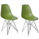 Kit 2 Cadeiras Eames Eiffel Verde PP OR Design 1102