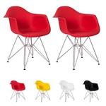 Kit 2 Cadeiras Eiffel Eames C/ Braço Base Cromada - (vermelha)