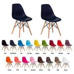 Kit 2 Cadeiras Eiffel Eames Dsw Base Madeira Várias Cores - (azul Marinho)