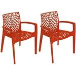 Kit 2 Cadeiras Gruvyer com Braços Laranja OR Design