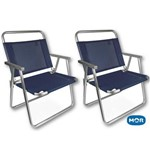 Kit 2 Cadeiras Oversize Alumínio Azul Mor Suporta 140kg