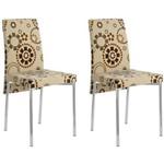 Kit 2 Cadeiras para Sala de Jantar 306 Cromado/étnico Sépia - Carraro