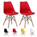 Kit 2 Cadeiras Saarinen Torre Base Madeira Várias Cores - (vermelha)