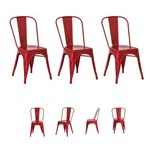 Kit 3 Cadeiras Tolix Iron Industrial Várias Cores - (vermelha)