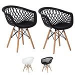 Kit 2 Cadeiras Web Base Madeira Eiffel Eames Várias Cores - (preta)
