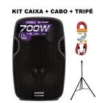 Kit Caixa Ativa Waldman 12'' 700W + Cabo + Tripé