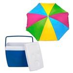 Kit Caixa Térmica 34 Litros Azul 25108161+ Guarda Sol Fashion 003545 - Mor<BR>