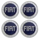 Kit Calota Miolo de Roda Emblema Fiat 49,6mm Logo Azul