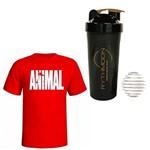 Kit Camiseta Animal Vermelho G + Coqueteleira 600ml com Mola