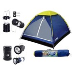 Kit Camping 1 Barraca Iglu para 4 Pessoas + 1 Lampiao Led Recarregavel Luz Solar