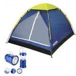 Kit Camping Barraca Iglu 4 L Mor com Lampiao Solar Led USB Lanterna Recarregavel Bivolt