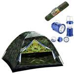 Kit Camping Barraca Pantanal 3 L Mor com Lampiao Solar Led USB Lanterna Recarregavel Bivolt