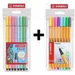 Kit Caneta Stabilo Pen 68 Pastel com 8 Cores + Caneta Stabilo Point 88 Pastel com 8 Cores