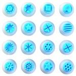 Kit Carimbo Plástico Azul 16 Peças Blue Star
