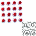 Kit Carimbo Plástico Vermelho 16 Peças Blue Star