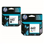 Kit Cartuchos HP 662 Preto + Colorido Original Lacrado Clr Pra Impressora Jato de Tinta 2516