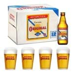 Kit Cerveja Antarctica Original 300ml (12unidades) + 4 Copos