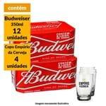 Kit Cerveja Budweiser 350ml (12 Unidades) + Copo Empório da Cerveja 350ml (4 Unidades)