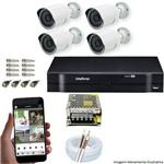 Kit Cftv 4 Ahd-m Câmeras 720p Dvr 4 Canais Mhdx Intelbras 5 em 1 + Acessorios
