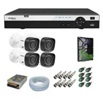 Kit Cftv 4 Câmeras Intelbras Full Hd 20m 1080p 1220b G4 + Dvr Intelbras MHDX 3004 + HD 1 Tb Dvr +