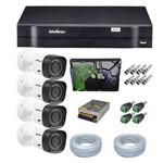 Kit CFTV 4 Câmeras Segurança 720P Intelbras VHD 1010B + Dvr Intelbras MHDX 1004 + HD 500Gb para Dvr
