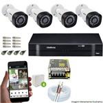 Kit Cftv 4 Câmeras Vhd 3130b 720p 3,6mm Dvr Intelbras Mhdx 1004 + Acessorios
