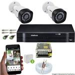 Kit Cftv 2 Câmeras 720p Ir Bullet 3130b Dvr 4 Canais Intelbras 5 em 1 + Acessorios