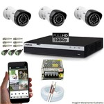Kit Cftv 3 Câmeras Vmh 1220b 1080p 3,6mm Dvr Intelbras Mhdx 3004 + Acessórios