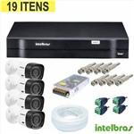 Kit Cftv com 04 Câmeras HDCVI + Dvr 04 Ch HDCVI Tri Hibrido 1004 Intelbras