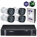 Kit Cftv Intelbras Multi HD Dvr 4 Canais + 4 Câmeras 1010b G3 + HD Western Purple 1tb