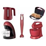 Kit Chaleira Cafeteira Mixer Waffle Maker e Batedeira Cadence 220V Vermelho