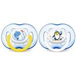 Kit 2 Chupetas Avent Freeflow Tamanho 2 18m+ Baleia e Pinguim - SCF186/24