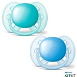 Kit 2 Chupetas Avent Ultra Soft Tam. 1 0-6 Meses Azul e Verde - SCF212/20