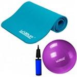 Kit Colchonete Azul para Ginastica + Bola Suica 55cm Roxa Liveup