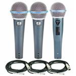 Kit com 02 Microfones Rhodon-8 + 1 Rhodon-8b Cabos Xlr-p10