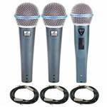 Kit com 02 Microfones Rhodon-8 + 1 Rhodon-8b Cabos Xlr-xlr