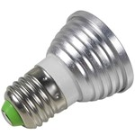 Kit com 05 Peças - Lâmpada Spot Led Rgb 3w - 16 Cores - E27 - 24 Funções + Controle Remoto