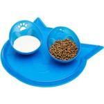 Kit com 1 Jogo Americano + 2 Comedouros para Gatos Tamanho P - Azul