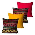 Kit com 4 Almofadas Decorativas Amarelo Étnica Abstrato
