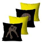 Kit com 4 Almofadas Decorativas Amarelo Futebol Americano