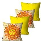 Kit com 4 Almofadas Decorativas Amarelo Sol de Maio