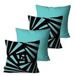 Kit com 4 Almofadas Decorativas Azul 3D