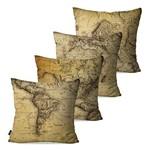 Kit com 4 Almofadas Decorativas Bege Mapas Continentes