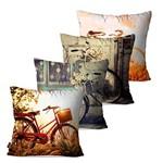 Kit com 4 Almofadas Decorativas Bicicletas