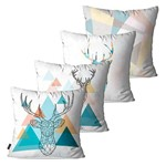 Kit com 4 Almofadas Decorativas Branco Alce 3D Geométrico