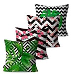 Kit com 4 Almofadas Decorativas Chevron e Natureza
