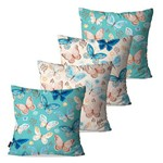Kit com 4 Almofadas Decorativas Coloridas Butterflies